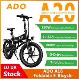 [EU UK Stock] ADO A20 Foldable Electric Bicycle 20Inche Tire E bike 350W DC Motor 35km h Removable Battery Mountain on Sale