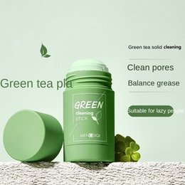 Wholesale Green tea oil control solid cleaning cream the mud film Pore cleanser moisturizing smear 40g
