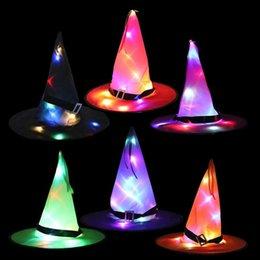Halloween Chapéus Halloweens decoração adereços conduziu luzes de cadeia de luzes de incandescência chapéu de bruxa cena layout festa suprimentos mágico feiticeira de feiticeira capuquê capítulo em Promoção