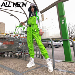 Wholesale cargo pants for sale - Group buy Cyber Y2K Neon Green Baggy Cargo Pants Harajuku Vintage Pocket Belts Chain Jumpsuits Punk Fashion Streetwear Spring