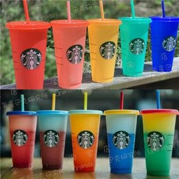 Wholesale Fast Shipping 24OZ Color Tumblers Plastic Drinking Juice Cup With Lip And Straw Magic Coffee Mug Costom Starbucks Color Changing Plasti Wnuw