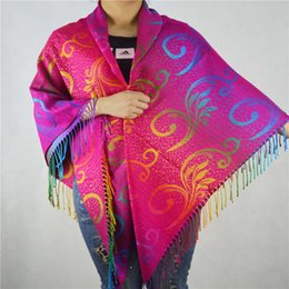 large square cotton scarves UK - New cashmere like super large national style colorful square Scarf thickened Shawl gradient water flower