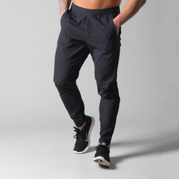 men lycra running pant 2021 - Black Casual Pants Men Joggers Sweatpants Running Sport Trackpants Male Gym Fitness Training Thin Quick dry Trousers Bottoms