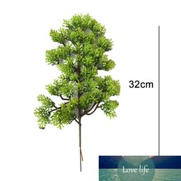 Discount pine tree bonsai Hot Sale 1Pc Plastic Fake Artificial Pine Cypress Plant Bonsai Desktop Garden tree Branch Home Office Decor 32cm