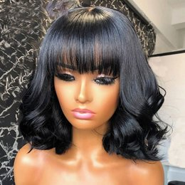 wavy hairstyles short hair 2021 - Short Wavy Style Scalp Top Base Wigs Full Machine Made Glueless Brazilian Remy Human Hair Wig