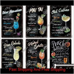 Discount tiki bar signs Vintage Wall Tin Poster Wall Stickers Decoration Retro Cuba Mojito Cocktail Metal Plaque Sign Tiki Bar Kitchen Decor 3388 Mpl1G Jjal8