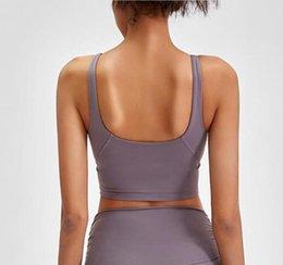Fitnessstudio Kleidung Frauen Unterwäsche Tanks Camis Yoga Sport BH Stoßfest läuft hochfest Fitness Workout u Zurück sexy gepolsterte Tops Weste im Angebot