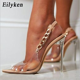 Discount transparent crystal wedding dresses Eilyken Transparent Pumps Women Sexy Pointed Toe Chain Design Crystal Heel Ladies Shoes Stiletto High Heels Wedding Dress Shoes 210302