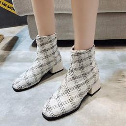 Wholesale cotton fabric cm resale online - Plaid Elegant Ankle Boots Women Square Toe Shoes Cm Mid Heel Ankle Boots Winter Elegant Short Booties Ladies A1jt