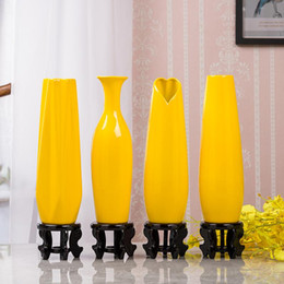 Wholesale 30CM Modern Yellow Vase Furniture Decoration Ceramic Red Tabletop Vases Statue Flower Pot Home Decorations Wedding