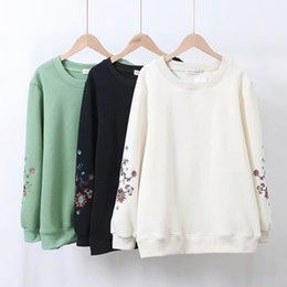 Wholesale korean necked models for sale - Group buy sweatshirts mm large size Fat autumn and winter Korean fashion art model round neck add velvet embroidered sweater Z8