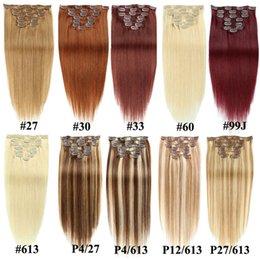 Dikke Volledige Hoofd 70G 100G Set Rechte Clip in op Menselijk Hair Extensions Goedkope Remy Peruaanse Hair Extentions Clip ins 20 Kleuren beschikbaar