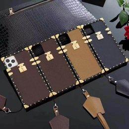 Top Fashion Phone Cases voor iPhone 13 Pro Max 12 Mini 11 XR XS XSMAX PU Lederen Shell Samsung S20P S20 Plus S20U Opmerking 10 10P 20 Ultra met Lanyard