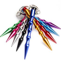 Toptan satış 9 Renkler Aliuminum Kadınlar Için Aliuminum Kendini Savunma Anahtarlık Güvenliği Kız Spike Sopa Silahları Anahtarlık Metal Toptan