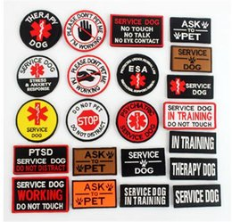 ingrosso patch di sicurezza-Service terapia Dog Badges Gancio Gancio Patch per cani Pet Non toccare Touch in Allenamento Security Gilet Brabura Adesivi emblema