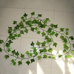 plastic green vines Australia - 2.4M Artificial Ivy Green Leaf Garland Plants Vine Fake Foliage Flowers Home Decor Plastic Artificial Flower Rattan String