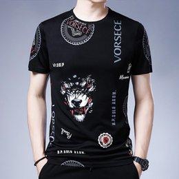 Wholesale Luxury T-shirts 2021 Summer Short Sleeve T-shirt Fashion Middle-aged Trend Animal Print Thin Ice Silk Cotton Men's T-shirt