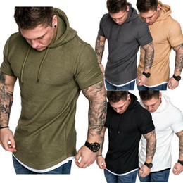 Wholesale muscle shirts for sale - Group buy Mens Fit Summer Slim Summer Short Sleeve T Shirt Casual Shirt Tops Clothes Hooded Muscle Tee New Fashion