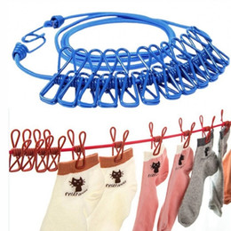 Wholesale 1.85m Portable Clothesline with 12 Clothespins Travel Portable Windproof Elastic Clothes Drying Line Hanger Racks Backyard Outdoor HHA1723