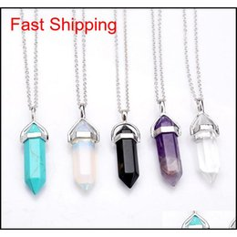 real amethyst pendant necklace NZ - Bullet Shape Real Amethyst Natural Crystal Quartz Healing Point Chakra Bead Gemstone Opal Stone Pendant Chain Necklaces Jewelry Wcw082 N69Yy