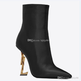 New Spring Fall Black Real leather Wedding Bridal Shoes OPYUM Snake Heels Pointed Toe Letters High Heels Pumps Ladies Boots Designer DH on Sale