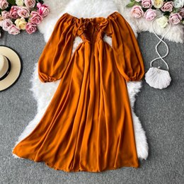 robe de swing de haute couture achat en gros de-news_sitemap_homeAutomne Femmes Slash cou manches à manches longues Robe MIDI Femelle Jaune Rouge Rose High Taille High Taille Grand Swing Robes de mousseline Swing Mode
