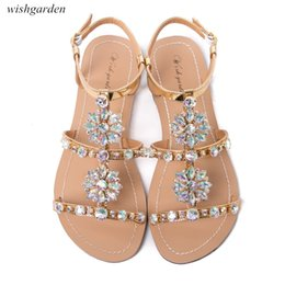 floral print dress shoes 2021 - NEW Women`s summer bohemia diamond Flat sandals lady casual beach Rhinestone shining boho shoes Plus Size peep toe Slippers 210302