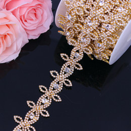 Wholesale gold applique iron resale online - Gold Rhinestone Trimming Belt for women Crystal Rhinestone Chain Bridal Sash Rhinestone Trim Iron On Applique For Dresses
