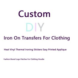 Wholesale sew easy sewing resale online - Custom DIY Iron on Transfers Heat Vinyl Thermal Ironing Sewing Stickers Easy Printed Applique Fashion Brand Logo Patches for Clothing