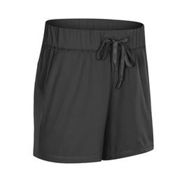 venda por atacado L-52 Verão Novo Dupla Face Nylon Yoga Shorts Mulheres Cintura Alta Cintura Treinamento de Hip Fitness Running Sports Leisure Shorts Mulheres