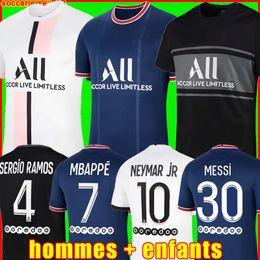 Messi Mbappe Soccer Jersey Hakimi Sergio Ramos 21 22 Maillots de Football 2021 2022 Marquinhos Vertti Mężczyźni Koszulki Koszulki Mundury Enfants Maillot Stóp trzeci 3rd