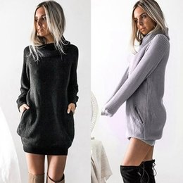 Wholesale womens sweater dresses resale online - Autumn Winter Sweater Dress Solid Casual Dresses Womens Long Sleeve Turtleneck Knitted Dress Roll Neck Jumper Ladies Hot