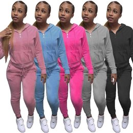 Wholesale velour tracksuits resale online - Women Piece Set Jogger Suits Velour Tracksuits Fall Winter Clothes Jacket Pants Long Sleeve Sweatsuits Plain Sportswear Leisure Wear