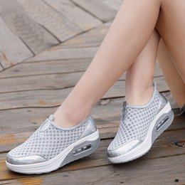 sneakers muffin Canada - Mesh Sneakers Women Spring Summer 2020 New Rocking Shoes Breathable Womens Shoes Casual Sports Muffin Wedge K4jM#