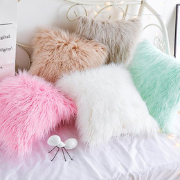Discount crochet cushion covers Fashion Sweet Long Plush Cushion Cover 45x45cm Throw Pillow Case For Living Room Sofa Bed Car Sequin Seat Hold Pillow