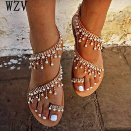 Shoes Woman Summer Sandals Roman Pearl Handmade Beaded Flat Womens Shoes Large Size 34 43 W629 d72m#