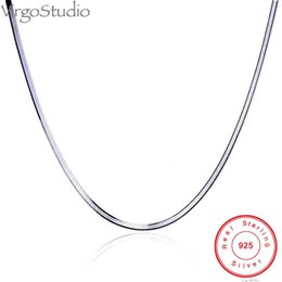 925 platinum chain 2021 - 925 Sterling Silver Non-Allergenic And Anti-Fading Necklace, Simple Without Pendant Platinum-Plated Blade Flat Snake Bone