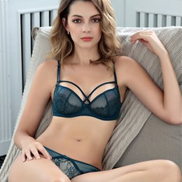 Wholesale romantic bra panty sets resale online - Women Ultra Thin Transparent Bra and Panty French Romantic Lace Sexy Push Up Intimate Underwear Set Plus Size b c d Cup