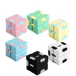 Wholesale infinity designer resale online - DHL Infinity Cube Candy Color Fidget Cube Anti Stress Cube Finger Hand Spinners Fun Toys For Adult Kids Adhd Stress Relief Toy