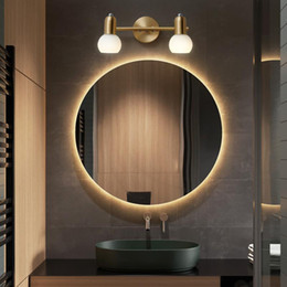 wall mounted lighted makeup mirror UK - Nordic LED Mirror Light Art for Bathroom Bedroom Modern Glass Design Golden Makeup Vanity Wall Mounted Lamp Copper Interior Home