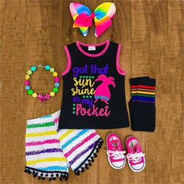 trolls baby clothes Canada - New Kids Troll 2PCS Summer Baby Girl Sleeveless Tank Top T Shirt+Rainbow Tassel Shorts Clothes Children Casual Outfit Set C0228