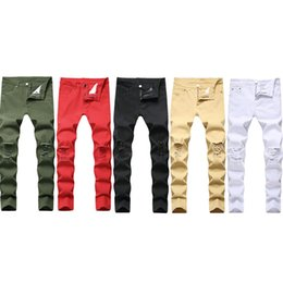 Men's Jeans Man Swag Mens Designer Brand Black Skinny Ripped Destroyed Stretch Slim Fit Hop Pants With Holes For Men Fashion Casual