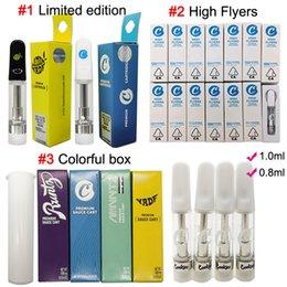 Cookies High Flyers Vape patroner 1ml 0.8ml Premium Sauce Carts 510 Oljekassett Glas Tankar Tom Begränsad upplaga Vach Pen Packaging Box Vaporizer Ecig