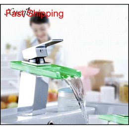 Discount led waterfall kitchen faucet Led Color Changes Glass Waterfall Basin Faucet Bathroom Bath Tub Single Handle Sink Mixer Tap Kitchen Water Fauce qylspi bdenet