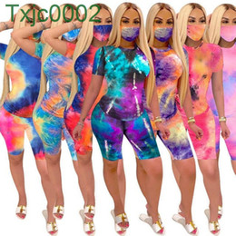 Wholesale womens jog suits resale online - Womens Two Piece Set Tie Dye T Shirt Tracksuit Designer Summer Printed Short Sleeve Shorts Outfits Fashion Casual Jogging Suits