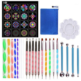 mandala painting 2021 - 40pcs set Mandala Dotting Tools Set For DIY Painting Rock Stencils Brush H05B1 Gift Sets