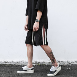 Wholesale strip pants for sale - Group buy High Street Side Strip Breathable Sport Shorts Mens Elastic Waist Color Block Oversize Casual Knee Length Pants