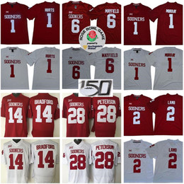 Wholesale NCAA Oklahoma Sooners 1 Jalen Hurts Jersey 2 CeeDee Lamb Baker Mayfield Kyler Murray Adrian Peterson Sam Bradford Red White College Football