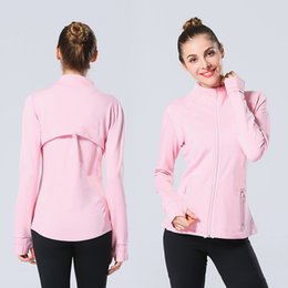Wholesale Fashion luxury zipper jacket designer Yoga suit running fitness coat Long Sleeve thumb hole quick drying tights
