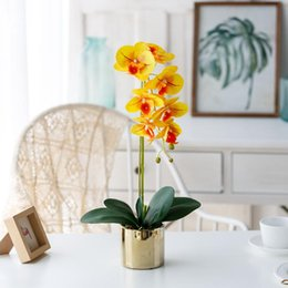 Discount flower arrangement centerpieces for weddings Artificial Flowers with Ceramic Vase Silk Orchids Flower Arrangements Table Centerpieces for Living Room Home Bouquet
